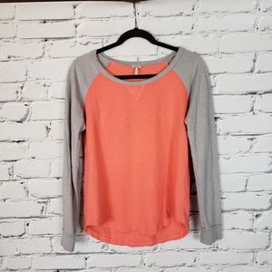 Splendid Coral and Gray Raglan Sweatshirt